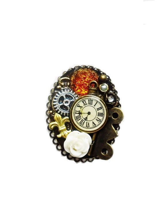 Steampunk Jewelry Steampunk Brooch Pin by OneStopSteamShoppe