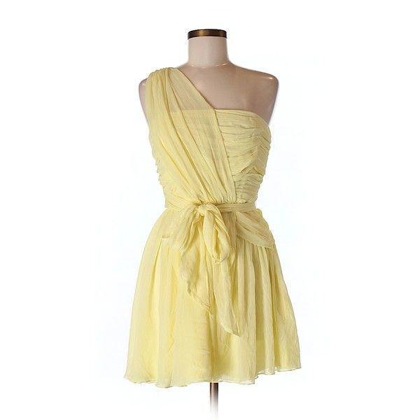 Kate Moss for Topshop Cocktail Dress ($44) ❤ liked on Polyvore featuring dresses, yellow, beige dress, yellow dress, beige cocktail dress, topshop dresses and yellow cocktail dress