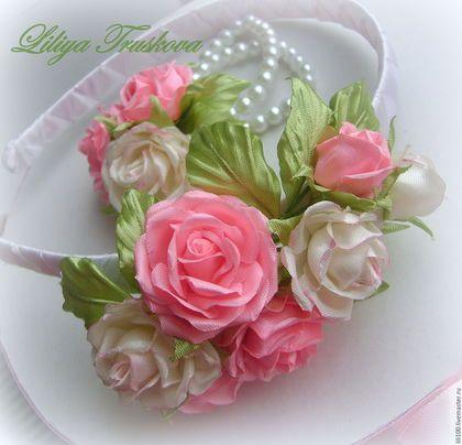 Купить или заказать Комплект :ободок и браслет 'Розовая мечта' в интернет-магазине на Ярмарке Мастеров. …