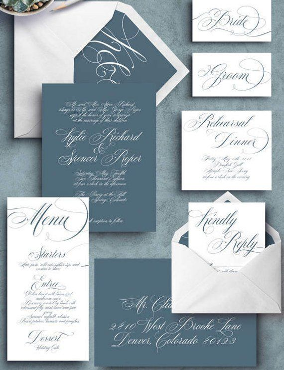 Slate Blue Wedding Invitation Etsy In 2020 Fun Wedding Invitations Custom Wedding Invitations Wedding Invitation Packages
