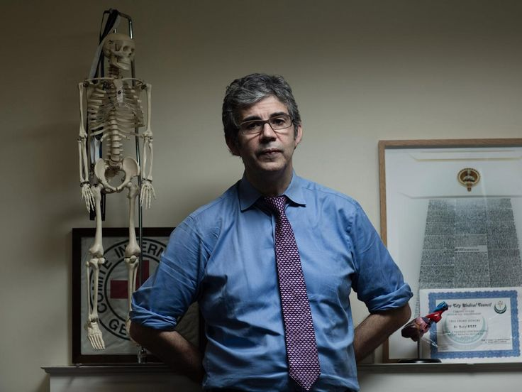 Dr David Nott at his offices; he is calling for a no-bombing zone in Syria protected by the international community