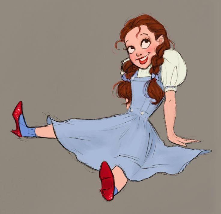 Джуди Гарленд, как Дороти в Волшебник из страны Оз. Я хотел создать Дисней-ЭСК мультфильм представление о ней.