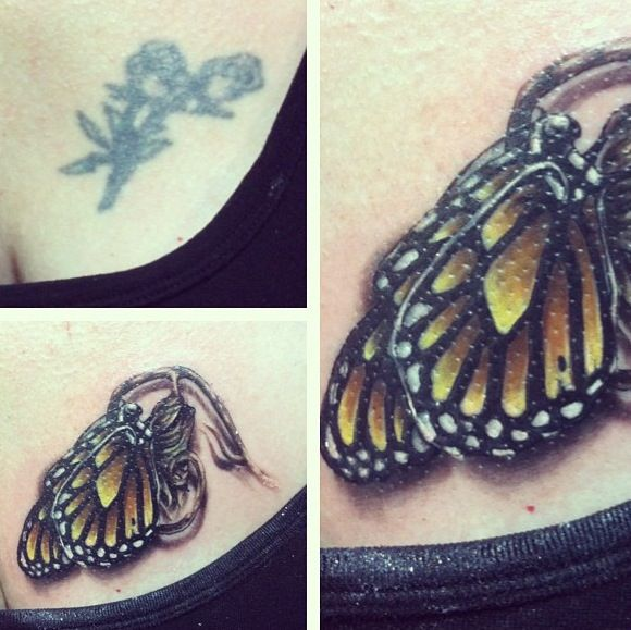 My mom had that ugly rose sitting on her chest for 20 years. At the Philadelphia Tattoo Convention, we met the lovely Ryan Ashley Malarkey, who did an amazing cover up! The butterfly coming out of his cocoon represents my moms recent major weight loss. We love Ryan's work and are getting matching tattoos from her in a few weeks!