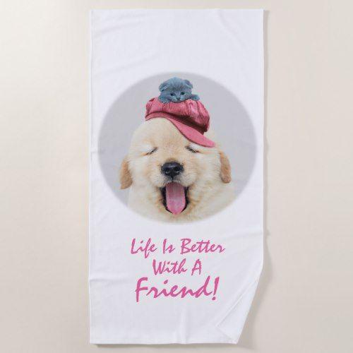 Cute Dog Cat Personalize Beach Towel Zazzle Com Cute Fluffy