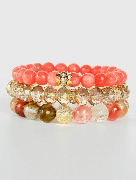 Gemstone bracelet set multi colored Peach
