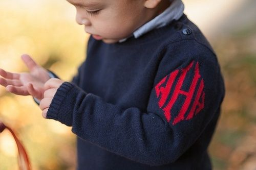 Baby boy monogram sweater.