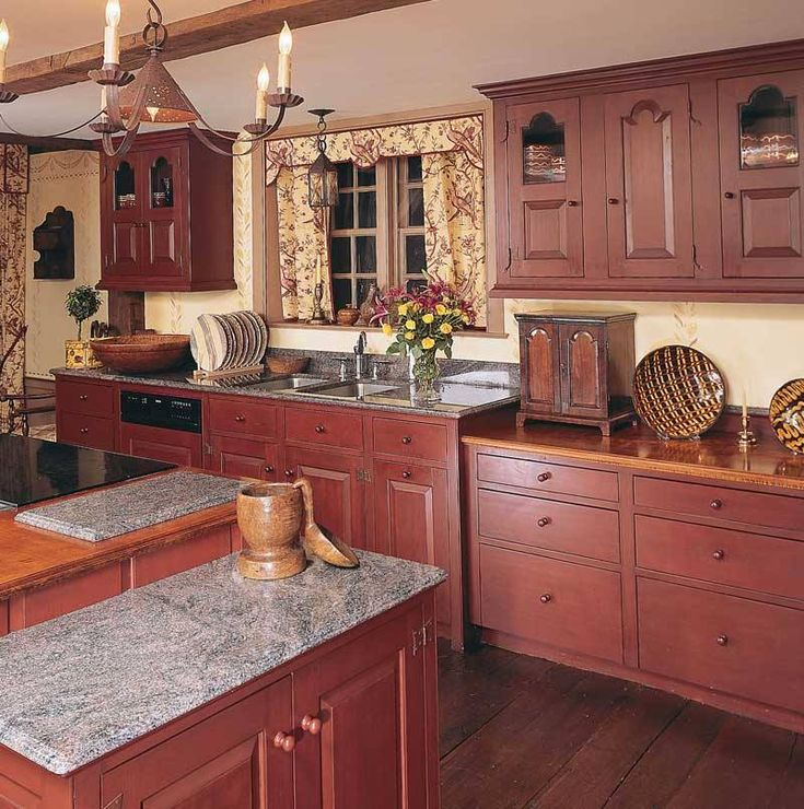 655 best primitive colonial kitchens images on pinterest for Colonial kitchen cabinet ideas
