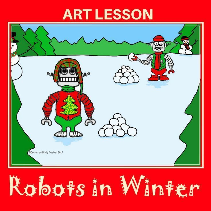 Fun elementary art lesson or center for Christmas time or winter. Visuals directions guide students through drawing robots having fun in the snow or in a winter scenario.