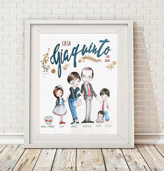 RITRATTO DI FAMIGLIA x5 illustrazione, Custom Family Portrait,  (5 soggetti) di…