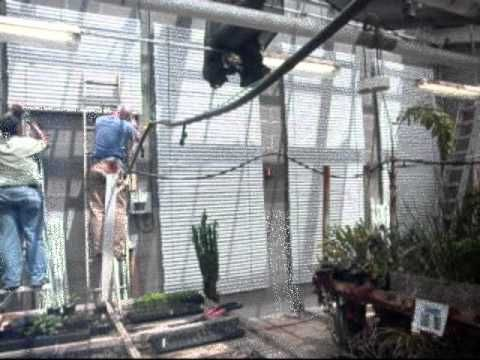 Passive energy storage. Greenhouse with savENRG PCM pipes used for passive cooling of greenhouses in spring-summer-fall.