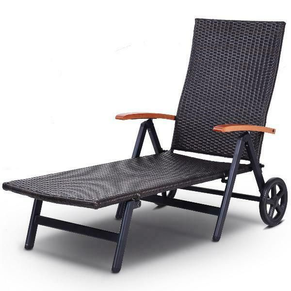 Outdoor Wicker Reclining Lounger Chair Brown Patio Rattan Furniture With Wheels Smartdealsmarket