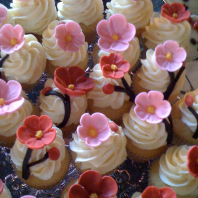 Cherry blossom cupcakes for my daughter's Japanese themed party.