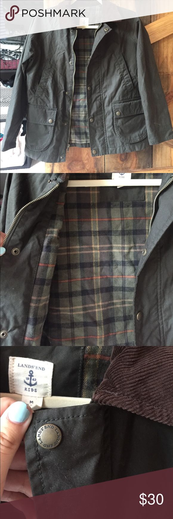 Land's End Kids Barbour Jacket Barbour inspired jacket from Lands end kids. Is a medium but it seems bigger than that and it fits me and I'm an adult small! I think the size is very universal. In great condition! Army green Land's End  Jackets & Coats