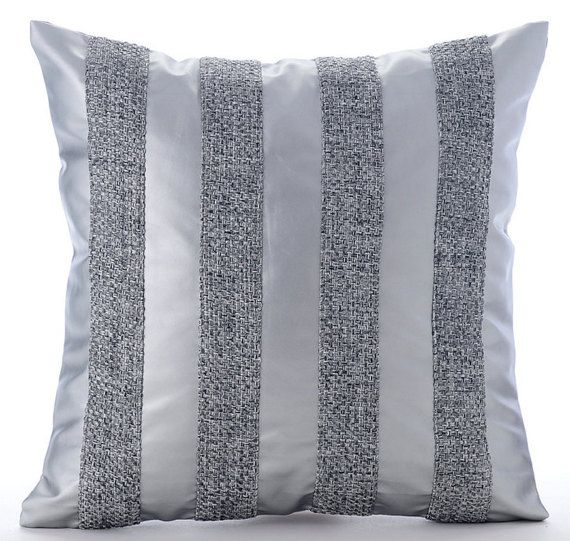 Silver Throw Pillows Cover For Couch 16x16 by TheHomeCentric
