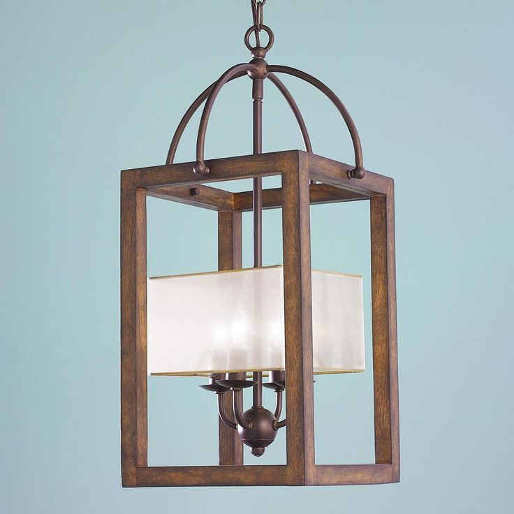 Square Wood Frame And Sheer Shade Chandelier Lamp ShadesLantern ChandelierLantern PendantHanging