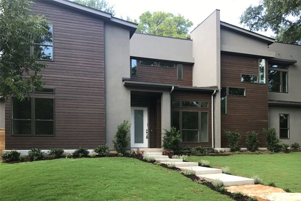 Beautiful warm, wood look home. Contemporary exterior, RusticSeries lap siding. Architectural design elements.