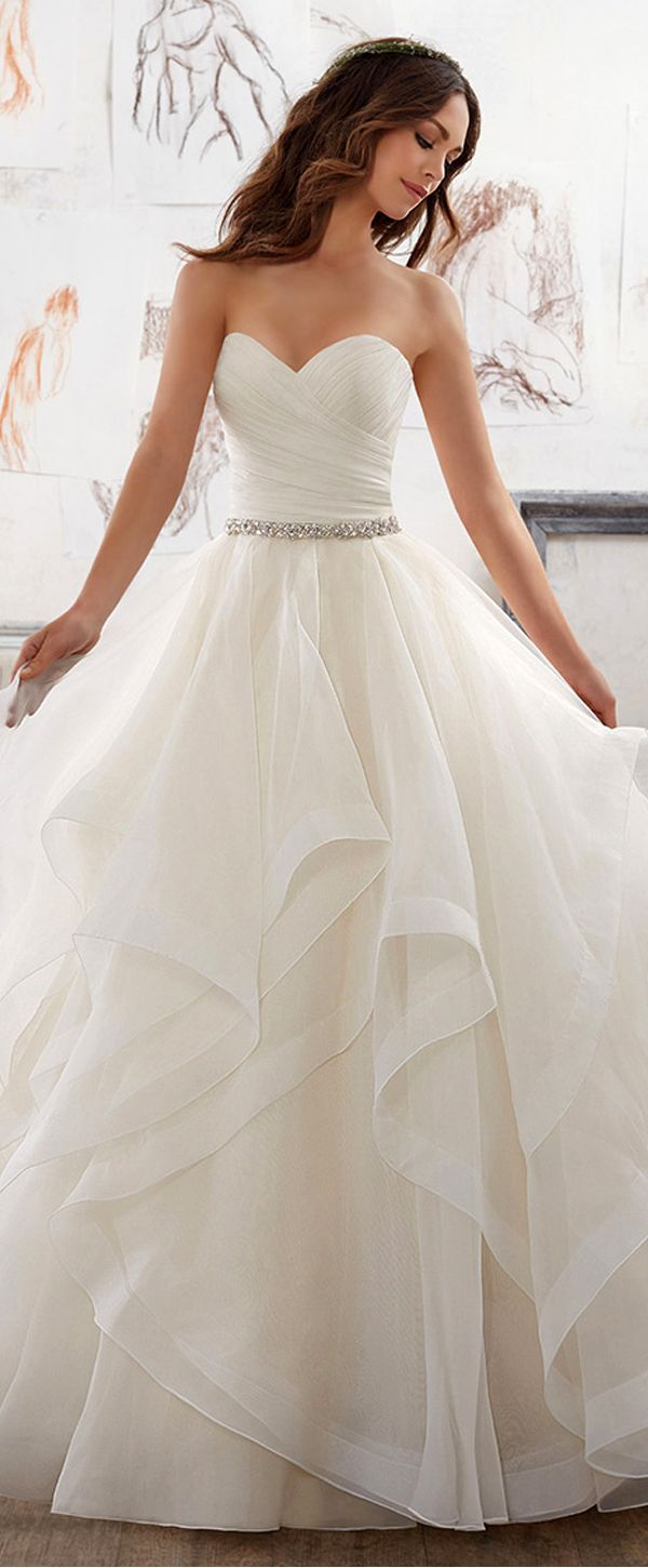 Attractive Organza & Satin Sweetheart Neckline A-Line Wedding Dresses With Beadi... 7