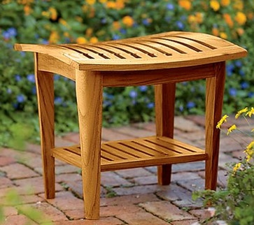 Teak shower stool teak bath stool - tropical - shower caddies - - by Gardener's Supply Company