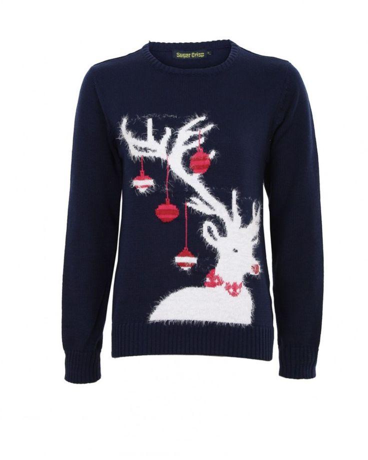 Tmavomodrý sveter Rudolf - Vianočné svetre - Dámske svetre - Oblečenie | Topankovo.sk