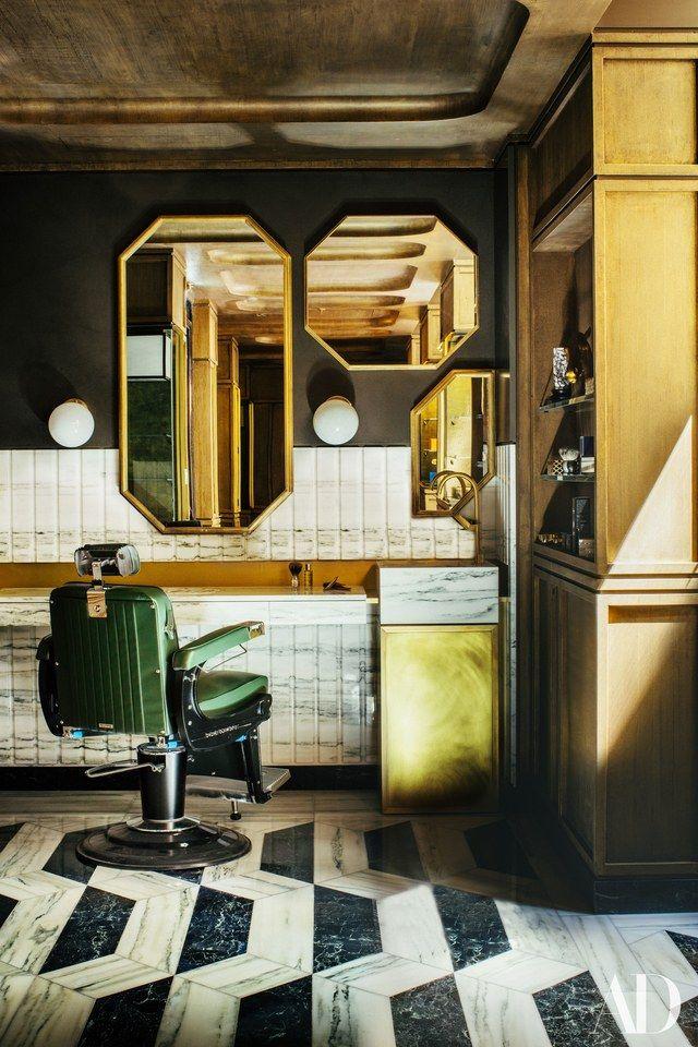 The well-appointed men's grooming area, La Barbière de Paris| Architectural Digest