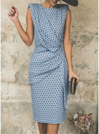 VERYVOGA PolkaDot Sleeveless Sheath Midi Party Dresses