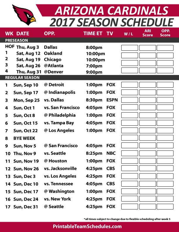 Arizona Cardinals Football Schedule 2017