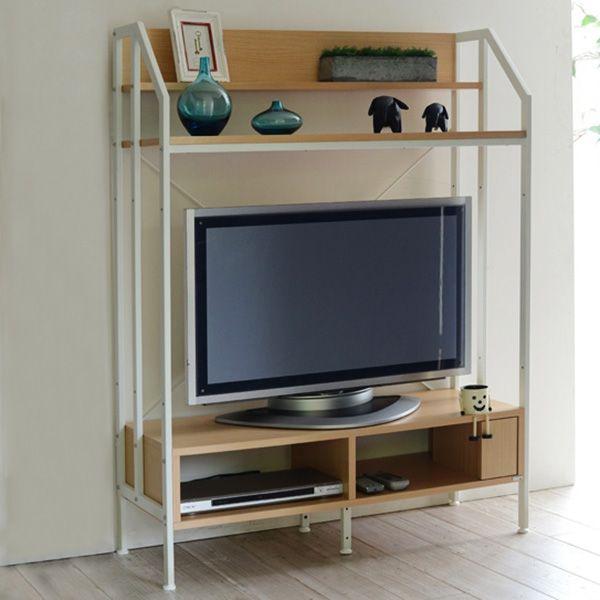 スチールと木目の組合せがポイント!北欧スタイルのハイタイプテレビ台(W100)