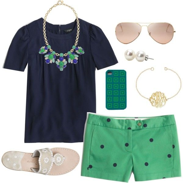Navy and Green - I have a skirt just like those shorts. find a necklace like that!