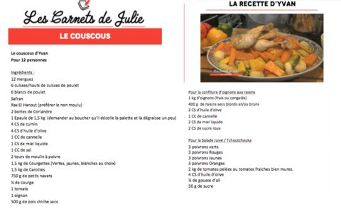 Couscous à la carte ! - 22/10/2016 - News et vidéos en replay - Les Carnets de Julie - France 3