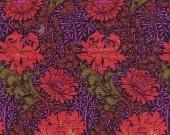 Coupon tissu Kaffe Fassett winding floral rouge coton américain, 46x56cm, 4€80