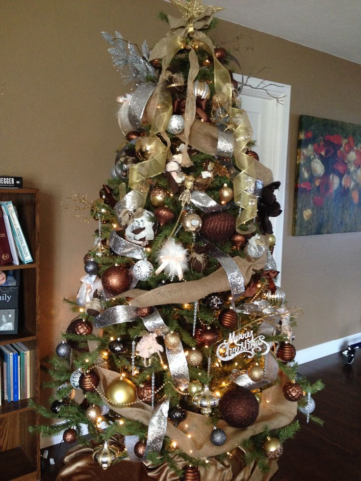 Brown burlap silver gold ivory christmas tree with Brown and gold christmas tree