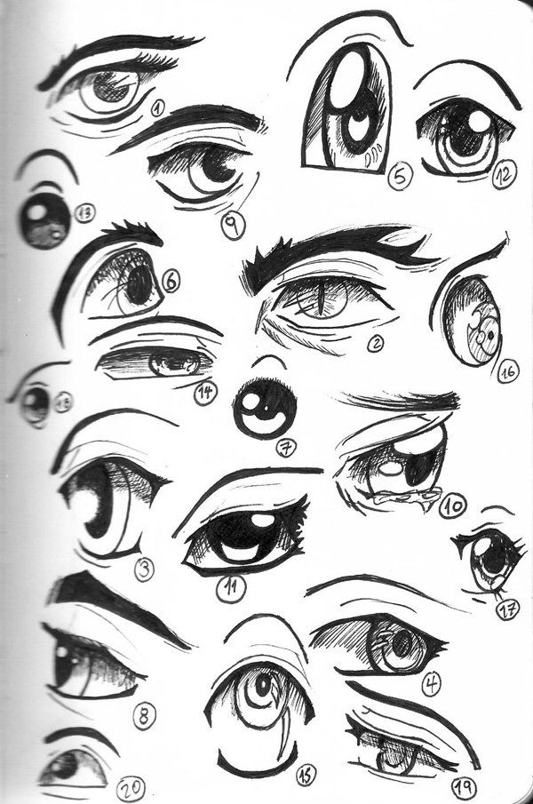 Anime eyes – Drawing of anime/manga eyes is much simpler, and these are some examples.  - Eyes are the windows to the soul. There's no person in the world who doesn't know this common wisdom, which is actually quite true. Eyes are the most expressive part of the human face, they reveal our feelings and our state of spirit. If we tell lies, eyes can reveal the truth, if we feel happy, eyes start to glow.