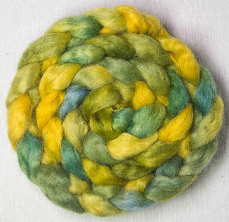 Hand dyed roving, Organic Devon Wensleydale, hand painted top, roving, spinning, felt, fiber, British wool, Bideford by YummyYarnsUK on Etsy