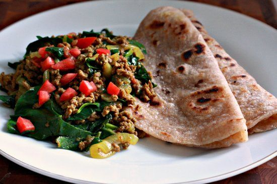 Sukuma Wiki with Chapati, traditional Kenyan dish.  These greens are amazing!!