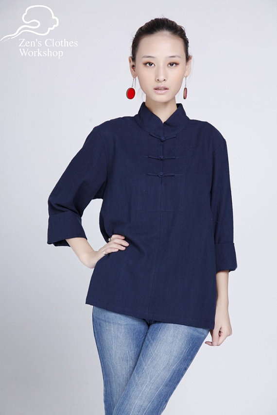 Chinese Collar Blouse Traditional Look & Mordern Cut von QIAO, €44,00