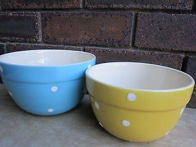 Retro 1950s Diana Australia Polka Dot Kitchen Bowls Blue & Yellow Spots Dots