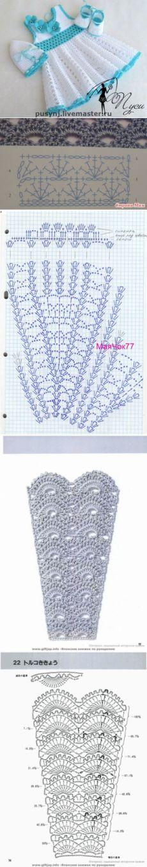 Вязаные платья для маленьких девочек + схемы юбок крючком. | Razpetelka.ru