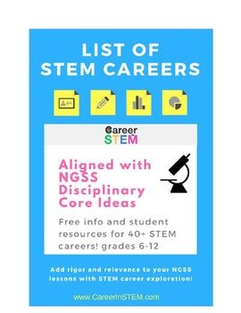 40+ STEM careers aligned with middle and high school NGSS Disciplinary Core Ideas.Explore careers within science, technology, engineering, and math that directly align with the standards you are already teaching in class. Includes link to STEM career