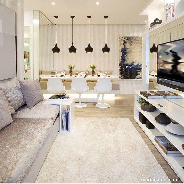 Living integrado, pode ser compacto, mas não faltou estilo e design, que o deixou super aconchegante, adorei!!! Projeto by @c_arq e by @mariana_orsi