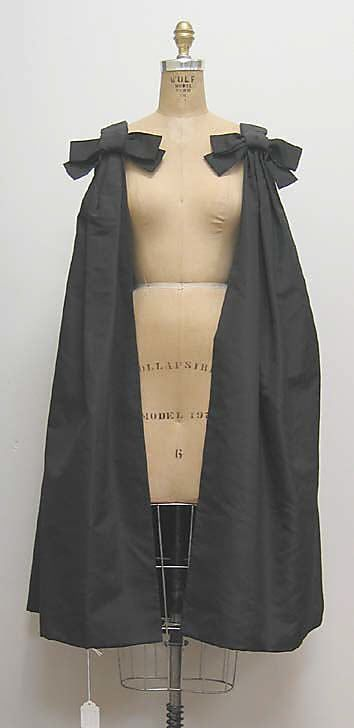 """Cocktail Cape, House of Dior (French, founded 1947): ca. 1960, French, silk.    Marking: [label] """"Christian Dior Paris"""""""