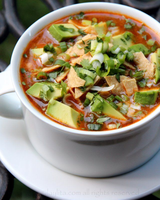 Chicken or turkey tortilla soup recipe - Laylita's Recipes This gets great reviews.  Very authentic and adaptable.  Mmmmm