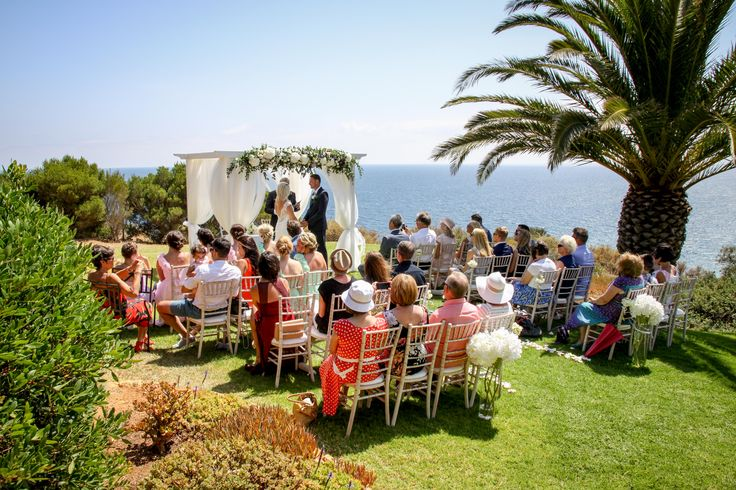 Cliff top venue, with an amazing sea view. Design and coordinated by Algarve weddings by Rebecca