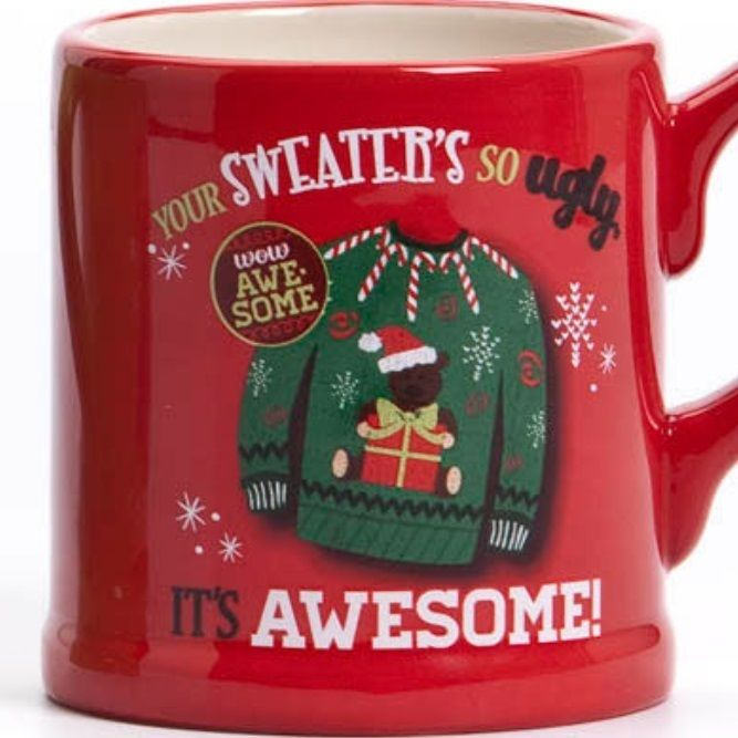 "Ugly Christmas Sweaters Canada - Christmas Coffee Mug | RetroFestive.ca ""UGLY MUG party. Head over to the Dollar Store or search your cupboards for the ugliest mug you can find. We'll have extra mugs if you can't find one. Come for ""mug-sized"" drinks, treats, & games! There will also be a white elephant gift exchange w/ a $5 cap. If you don't want to participate, that's fine. Party w/ us anyway."""