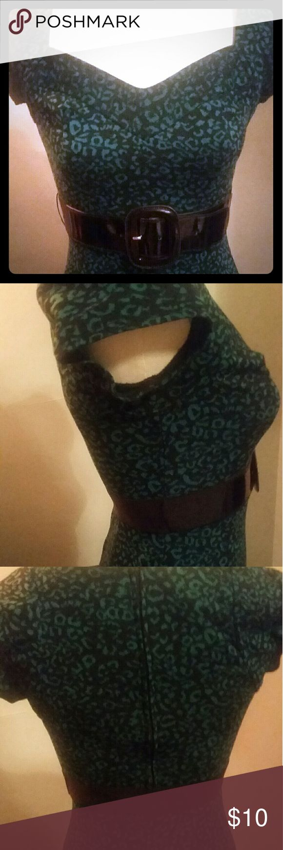 A. Byer animal print dress Black and green leopard print dress hugs curves. Sweetheart neckline, cap sleeves, hits just below knee. Great for a Saint Patrick's DAY pub crawl!  *belt not included. A. Beyer Dresses Midi