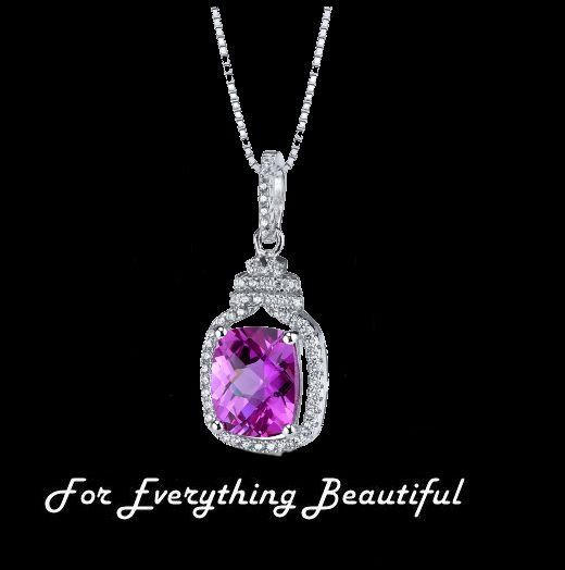 Pink Sapphire Cushion Cut Cubic Zirconia Halo Crown Sterling Silver Pendant