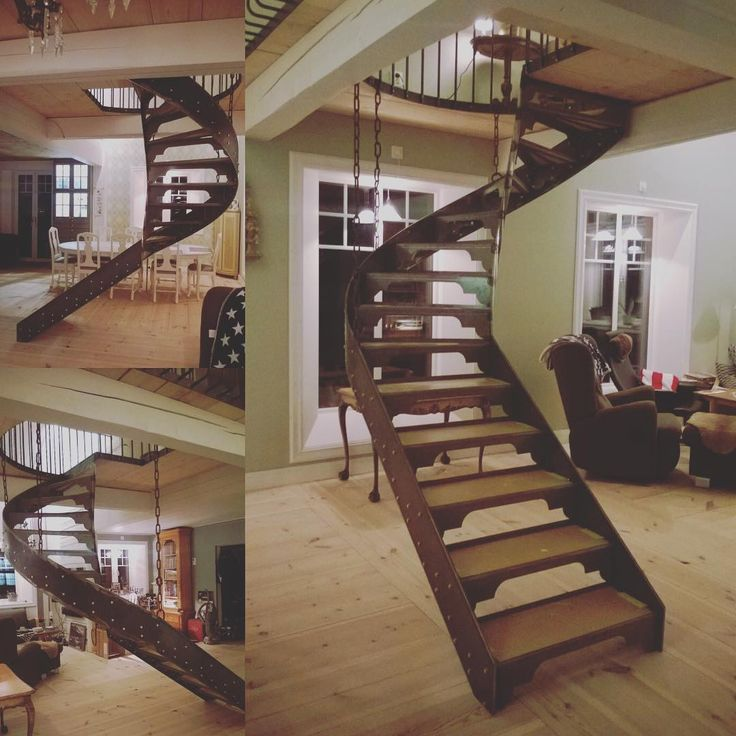 Our #staircase that I've designed and A has welded. Just needs some wood raisers now. #myowndesign #oldhouseinteriors #1920 #homemade #Järlåsa #Johannelund #steel #unique