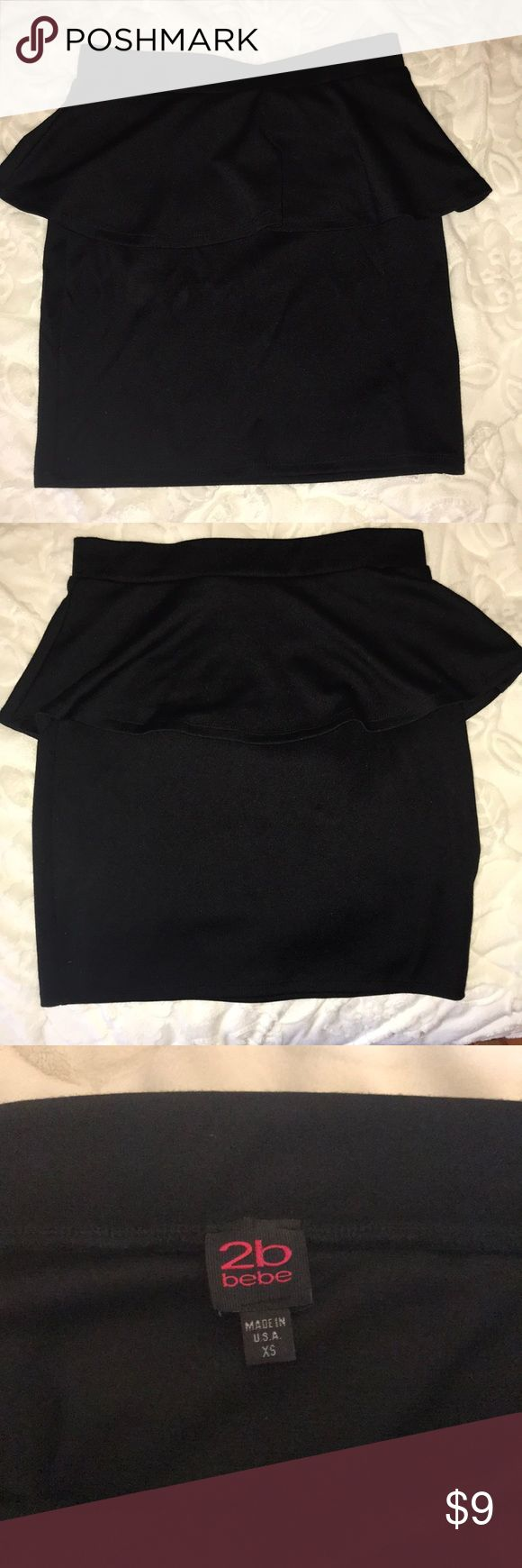Black Peplum Skirt Elastic waist  Worn only once Great for a date night look or a girls night out 2B Bebe Skirts Mini