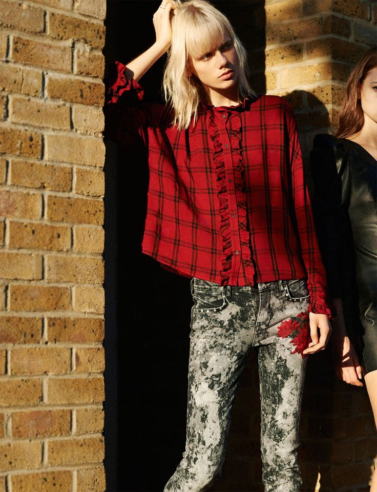 Plaid with paint splatter jeans... PRETTY IN PUNK | TRF-EDITORIALS | ZARA