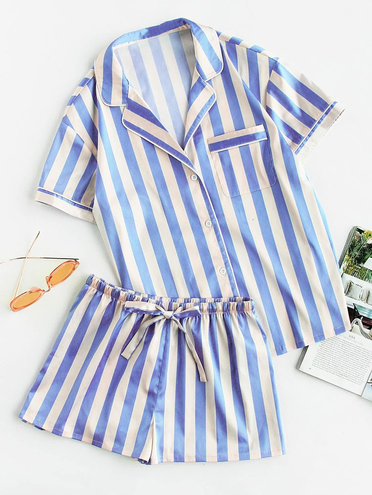 Shop Piping Detail Pocket Front Shirt And Shorts Pajama Set online. SheIn offers Piping Detail Pocket Front Shirt And Shorts Pajama Set & more to fit your fashionable needs.