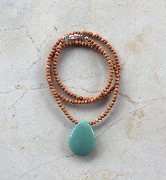 Boho Kette, Edelstein Halskette, Sandelholz Halskette, Aventurin, Sandelholz, Schichtung Halskette